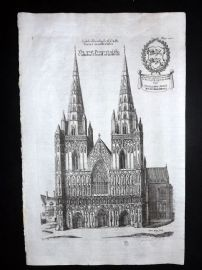 Dugdale & King 1718 Print. West Prospect of Lichfield Cathedral